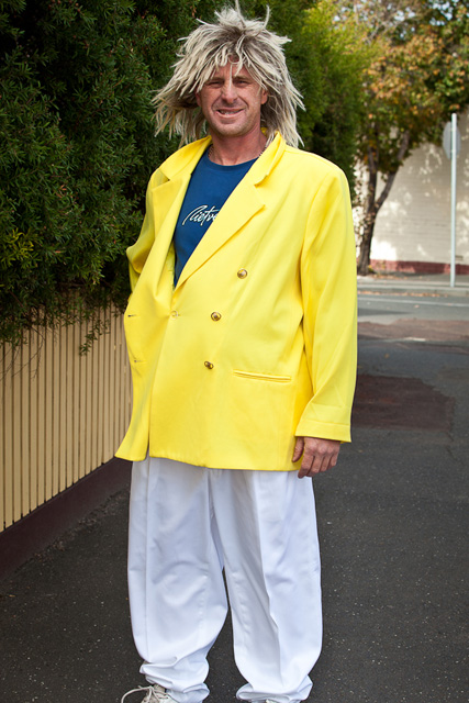 80s Canary Yellow Double Breasted Suit Jacket And White