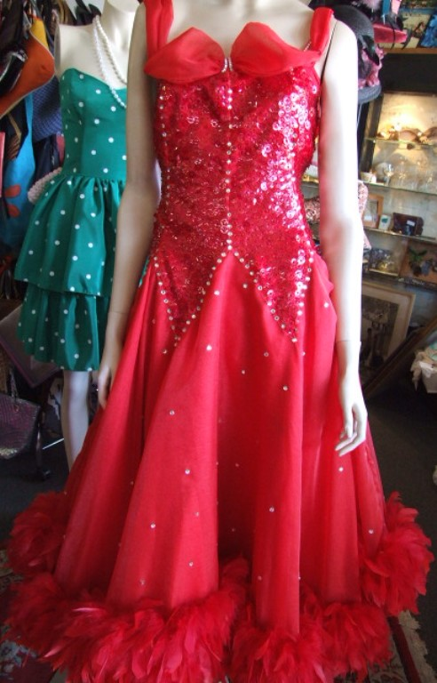 Red Ballroom Beads Feathers Dress Bam Bam Costume Hire